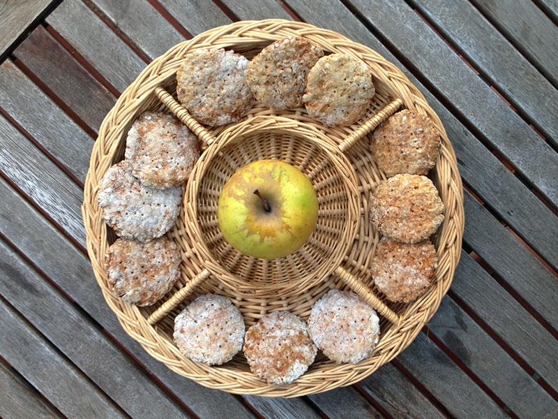 Los bocados de manzana, listos para comer/ Foto: Mireia Prats para Perricatessen